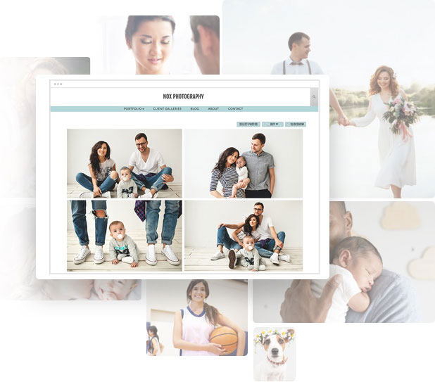 Demo photography portfolio website with Nox template showing photos of a family