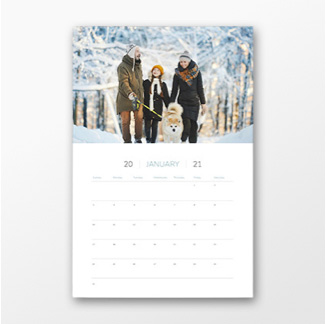 Calendar with family walking dog