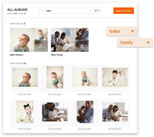 online photo gallery image search feature