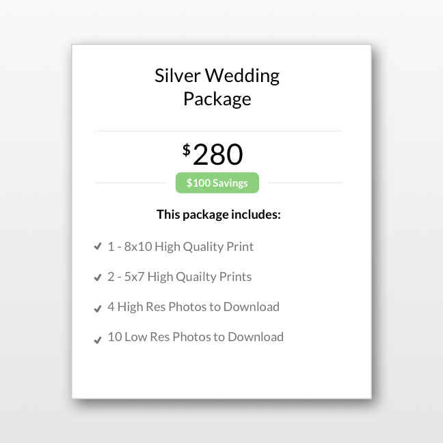 online photo gallery selling packages