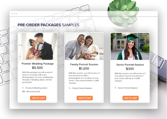 online photo gallery pre-order packages for purchase