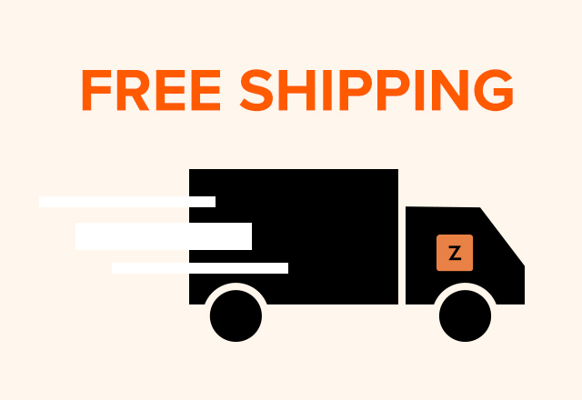 the words free shipping with graphic of delivery truck