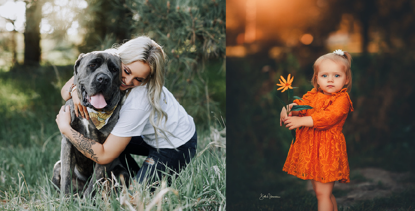 photo #1: A photo of a lady hugging her dog with photo #2: a little girl holding a flower